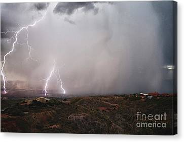 Canvas Print featuring the photograph Monsoon Lightning Storm Over The Jerome State Park In The Verde Valley Arizona by Ron Chilston
