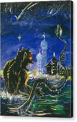Monster In The City Canvas Print by Amberlyn How