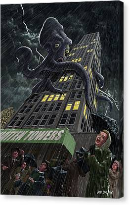 Monster Octopus Attacking Building In Storm Canvas Print by Martin Davey