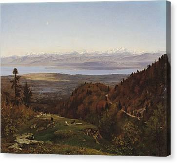 Mont-blanc Seen From Saint-cergues, 1869 Canvas Print by Francois Louis Francais