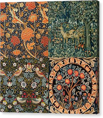 Tapestries - Textiles Canvas Print - Montage Of Morris Designs by Philip Ralley