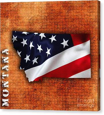 Montana American Flag State Map Canvas Print by Marvin Blaine