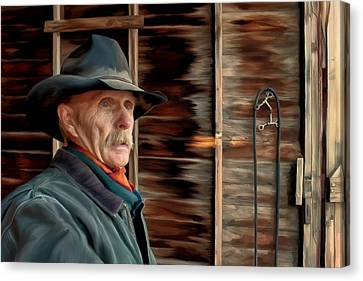 Montana Cowboy Canvas Print by Michael Pickett