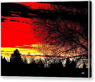 Canvas Print featuring the digital art Montana January Sunset by Aliceann Carlton