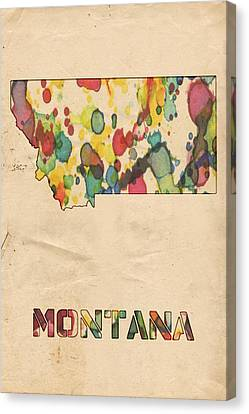 Montana Map Vintage Watercolor Canvas Print by Florian Rodarte