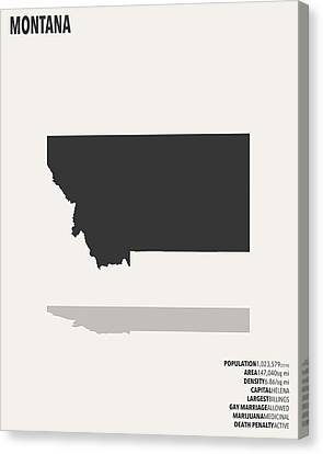 Montana Minimalist State Map With Stats Canvas Print by Finlay McNevin
