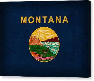 Montana State Flag Art On Worn Canvas Canvas Print