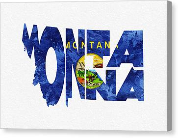 Montana Typographic Map Flag Canvas Print by Ayse Deniz