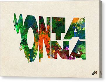 Montana Typographic Watercolor Map Canvas Print by Ayse Deniz