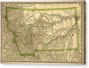 Montana Vintage Antique Map Canvas Print by World Art Prints And Designs