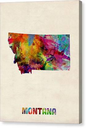 Montana Watercolor Map Canvas Print by Michael Tompsett