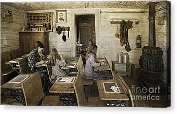Montana's Oldest Standing Schoolhouse Canvas Print by Priscilla Burgers