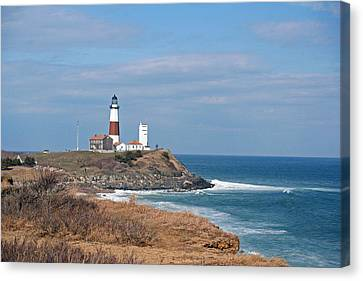 Canvas Print featuring the photograph Montauk Lighthouse/camp Hero by Karen Silvestri