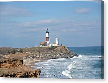 Montauk Lighthouse View From Camp Hero Canvas Print by Karen Silvestri