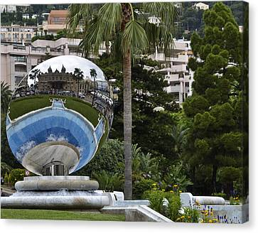 Canvas Print featuring the photograph Monte Carlo Casino In Reflection by Allen Sheffield