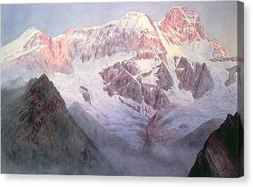 Monte Rosa At Sunrise From Above Alagna Canvas Print by Alfred Gibson William