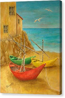 Monterosso On Riviera Di Levante Canvas Print by Pamela Allegretto