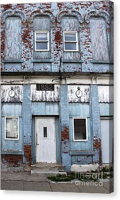 Montezuma Iowa - Blue Brick Building Canvas Print by Gregory Dyer