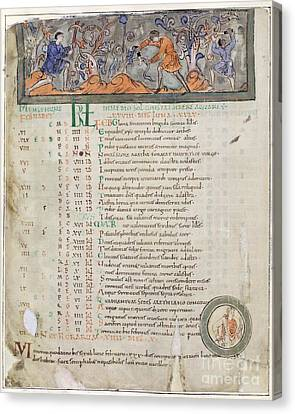 Month Of February, Anglo-saxon Calendar Canvas Print by British Library