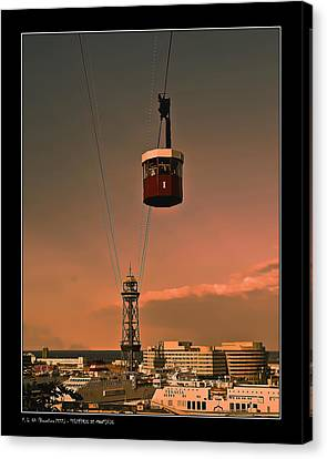 Montjuic Cable Car Canvas Print by Pedro L Gili