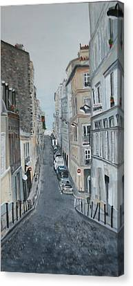 Canvas Print featuring the painting Montmartre Paris France by Betty-Anne McDonald