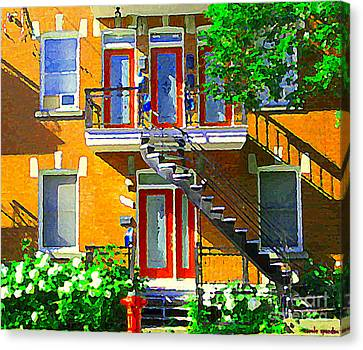 Montreal Art Seeing Red Verdun Wooden Doors And Fire Hydrant Triplex City Scene Carole Spandau Canvas Print by Carole Spandau
