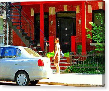 Montreal Art Summer Stroll On A Sunny Morning Colorful Street Verdun City Scene Carole Spandau Canvas Print by Carole Spandau