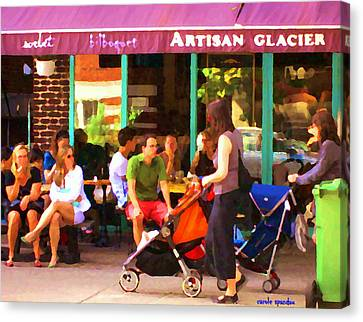 Montreal Art Work Bilboquet Cafe Scene Moms And Baby Carriages  In  Outremont By Carole Spandau Canvas Print by Carole Spandau