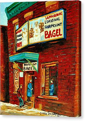 Montreal Bagel Factory Famous Brick Building On Fairmount Street Vintage Paintings Of Montreal  Canvas Print by Carole Spandau
