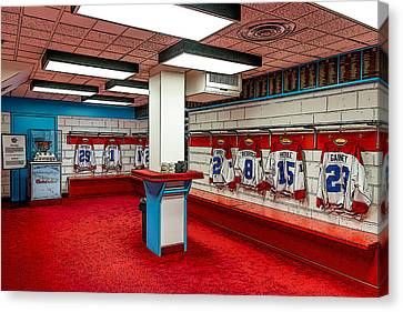 Montreal Canadians Hall Of Fame Locker Room Canvas Print by Boris Mordukhayev