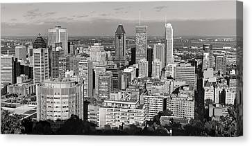 Montreal City Skyline In Black And White Canvas Print