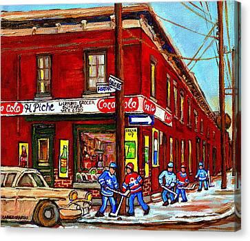 Montreal Depanneur Epicerie Boucherie Coca Cola South West Montreal Winter Pantings Hockey Art  Canvas Print by Carole Spandau