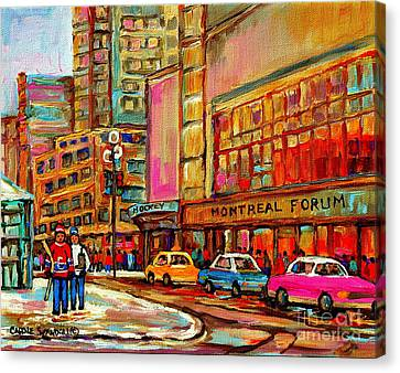 Montreal Forum  Winter Scene Paintings Snowy Day Downtown Strolling Atwater C Spandau  Canvas Print by Carole Spandau