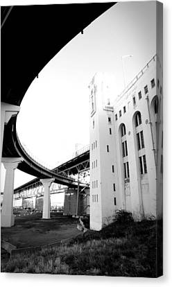 Montreal Harbour Bridge Casino Canvas Print by Eric Soucy