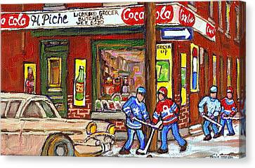 Montreal Hockey Paintings At The Corner Depanneur - Piche's Grocery Goosevillage Psc Griffintown  Canvas Print by Carole Spandau