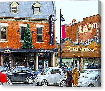 Montreal Memories Moishes Famous Steakhouse Restaurant On The Main Busy Winter Scene Carole Spandau Canvas Print by Carole Spandau