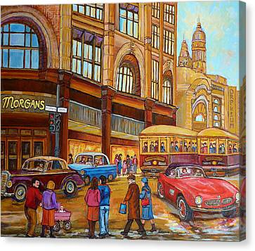 Montreal Memories-streetcars-morgan's Department Store At St.catherine And Union Canvas Print by Carole Spandau