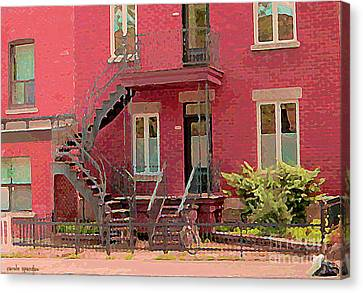 Montreal Memories The Old Neighborhood Timeless Triplex With Spiral Staircase City Scene C Spandau  Canvas Print by Carole Spandau