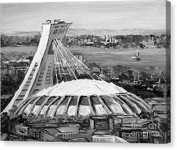 Montreal Olympic Stadium And Olympic Park-home To Biodome And Velodrome-montreal In Black And White Canvas Print by Carole Spandau