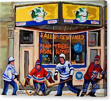 Montreal Pool Room City Scene With Hockey Canvas Print by Carole Spandau