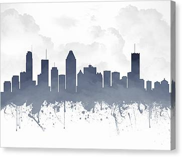 Montreal Quebec Skyline - Blue 03 Canvas Print by Aged Pixel