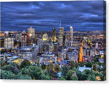 Canvas Print featuring the photograph Montreal Skyline At Dusk by Shawn Everhart
