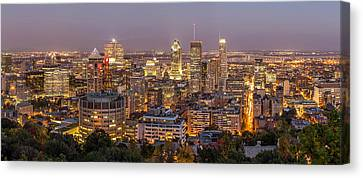 Montreal Skyline At Night Canvas Print by Pierre Leclerc Photography
