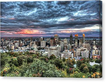 Montreal Skyline Sunset From Mount Royal Canvas Print by Shawn Everhart