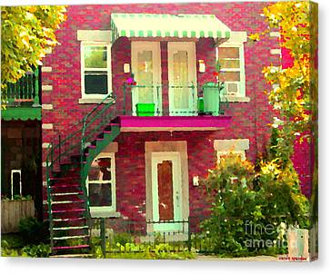 Montreal Stairs Painted Brick House Winding Staircase And Summer Awning City Scenes Carole Spandau Canvas Print by Carole Spandau
