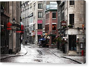 Montreal Streets Montreal Street Scenes Canvas Print - Montreal Street Scene by John Rizzuto