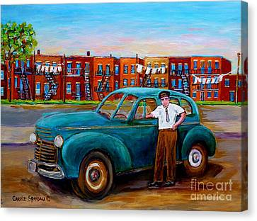 Montreal Taxi Driver 1940 Cab Vintage Car Montreal Memories Row Houses City Scenes Carole Spandau Canvas Print by Carole Spandau