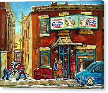 Montreal's Favorite Bagel Shop Original Fairmount Bagel Laneway Hockey Game By Carole Spandau Canvas Print by Carole Spandau