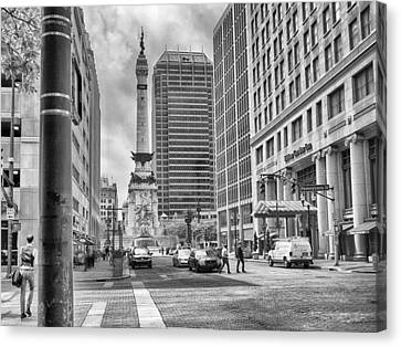 Monument Circle Canvas Print by Howard Salmon