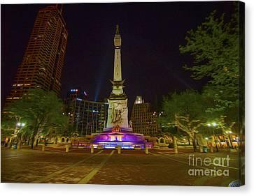 Monument Circle Indianapolis Digital Oil Paint Canvas Print by David Haskett